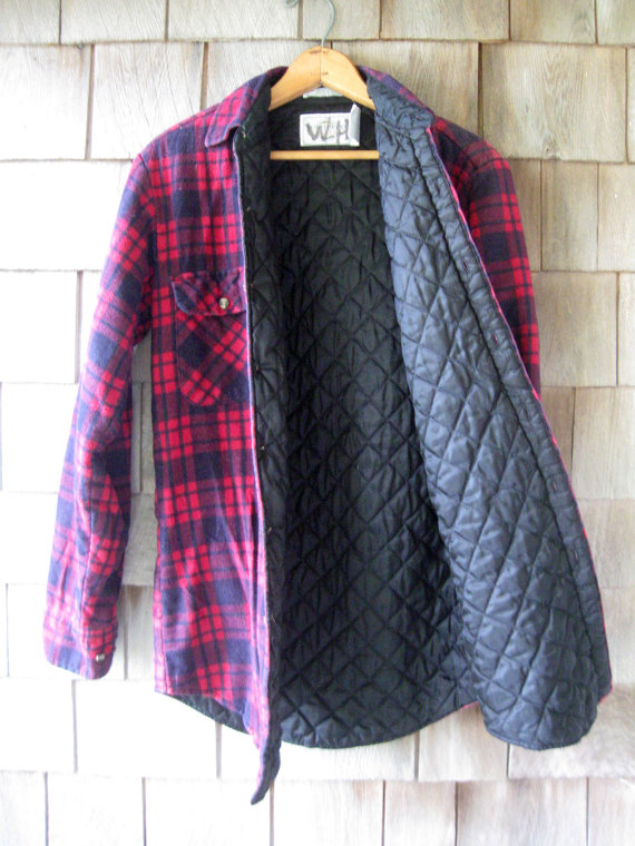 Quilted Flannel Shirt Jacket Mens