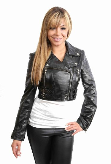 Ladies Short Black Leather Jacket - JacketIn