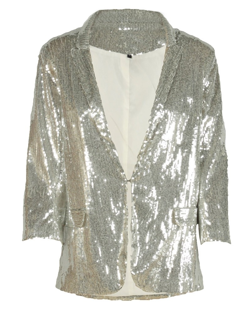 Show off you inner glam with this All Over Sequin Bomber Jacket! This jacket features an all over sequin design, lined with a soft silky material, ribbed trim accent, open side pockets, zipper pocket at left arm and a zip up front closure.
