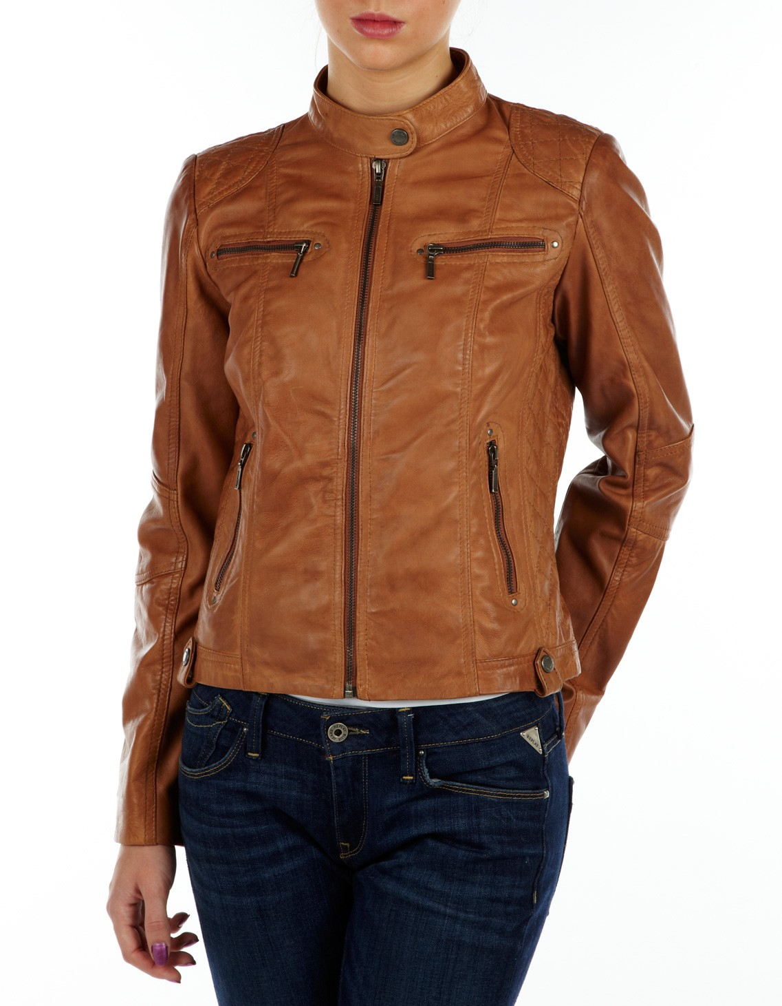 Womens tan leather jacket