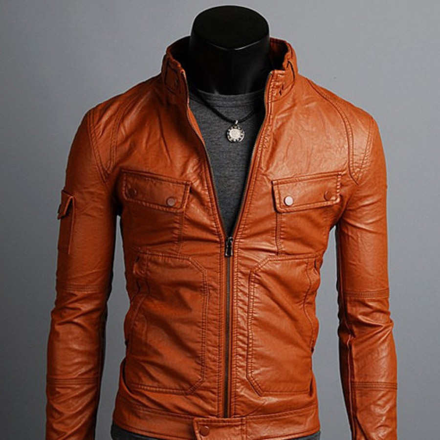 Mens brown tan leather jacket – Modern fashion jacket photo blog