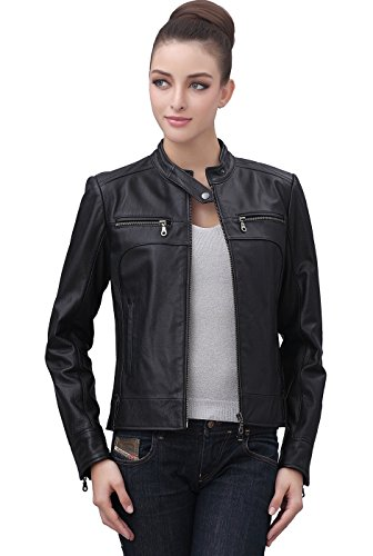Womens Short Black Leather Jacket - JacketIn