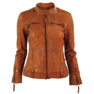 Womens tan leather motorcycle jacket – Modern fashion jacket photo ...