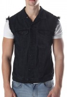 Black Sleeveless Jean Jacket