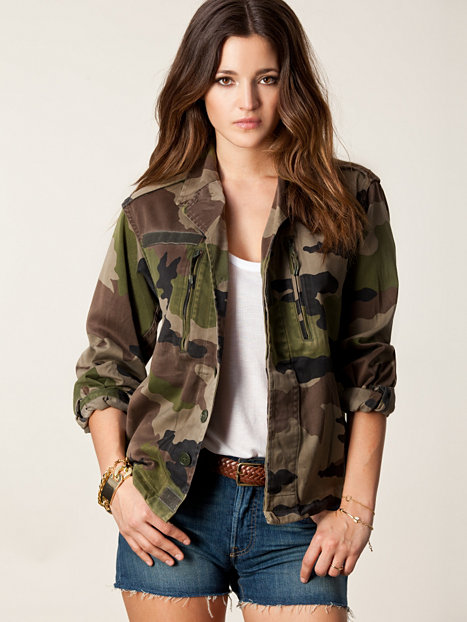 Women Vintage Military Camo Classic Padded Bomber Jacket ...  |Camo Jackets For Women