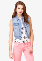 Cropped Jean Vest