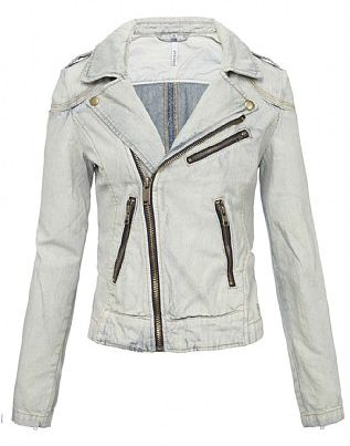 Denim Biker Jacket Womens