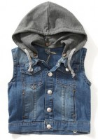 Hooded Jean Jacket Vest