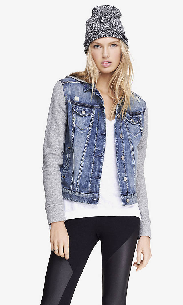 Womens denim jacket with sweater sleeves – Modern fashion jacket ...