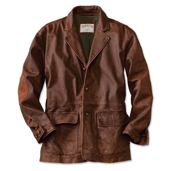 Leather hunting jacket