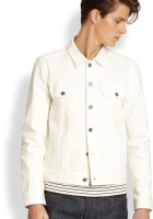 Men White Jean Jacket