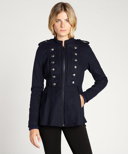 Navy Military Coat Womens | Down Coat