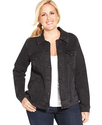 Plus Size Black Jean Jacket - Jon Jean