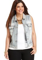 Plus Size Jean Jacket Vest