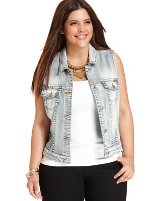 Plus Size Jean Vest | Bbg Clothing