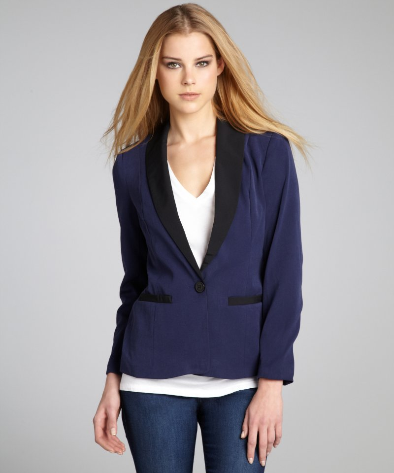 Images of Navy Blue Jacket Womens - Reikian