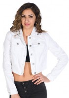 White Cropped Jean Jacket