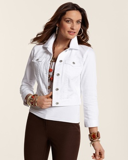 Womens White Denim Jean Jacket - Coat Nj