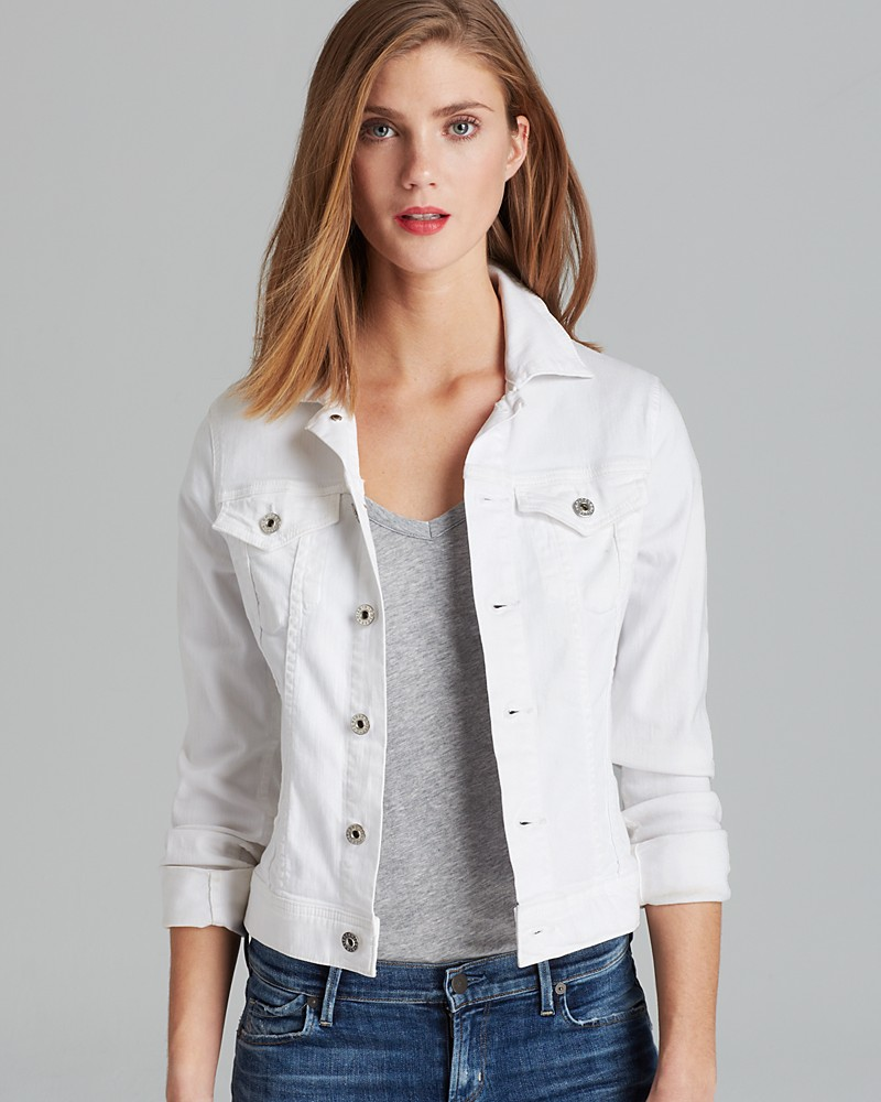 Embroidered Jean Jacket: A touch of feminine charm comes to this jean jacket updated with vintage-style embroidered flowers and seaming for shape. Premium denim offers the best feel and fit imaginable and has all the classic details required of a wear-with-everything jacket.