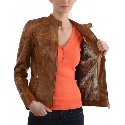 Womens Brown Biker Jacket – Jackets
