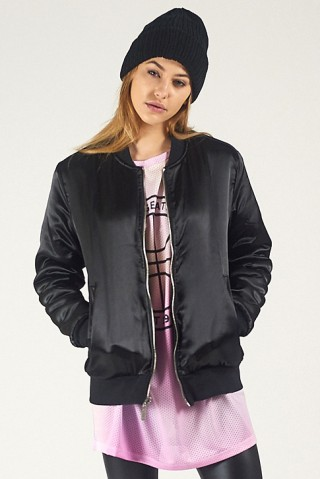 Black bomber jacket checkered inside women's – Novelties of modern ...