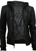 Black Leather Hooded Jacket