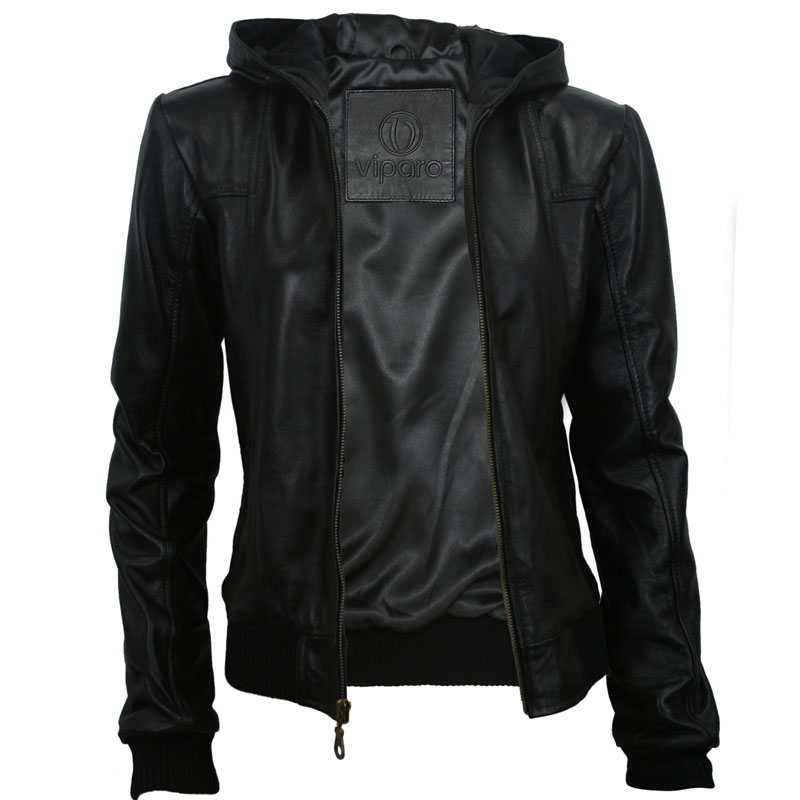 Images of Leather Hooded Jacket Women S - Reikian
