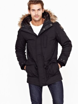 Images of Mens Black Parka Jacket - Reikian