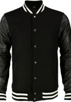 Black Varsity Jacket Leather Sleeves