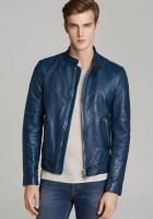 Blue Leather Jacket Men