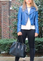Blue Leather Jacket Outfit