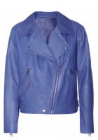 Blue Leather Jacket Women