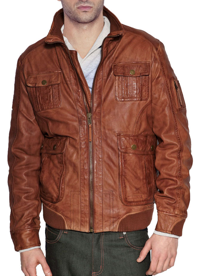 Brown leather bomber jackets