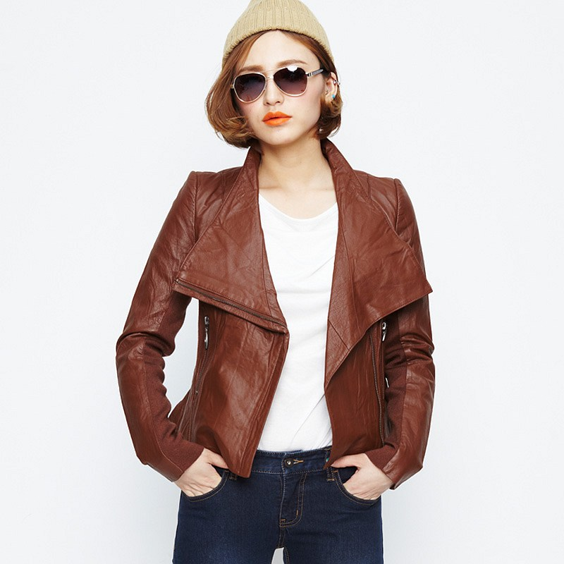 Brown Leather Jacket For Women Photo Album - Reikian