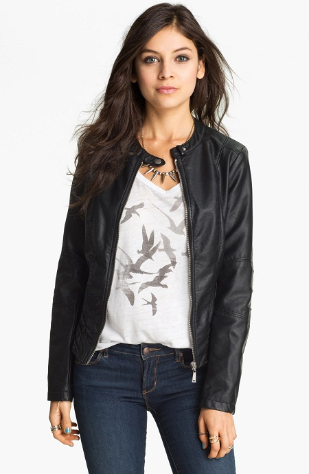Juniors Black Leather Jacket | Outdoor Jacket