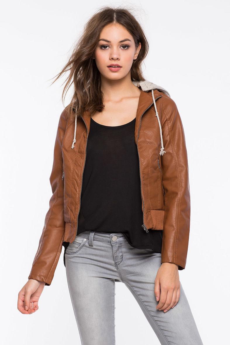 Faux leather jacket girls