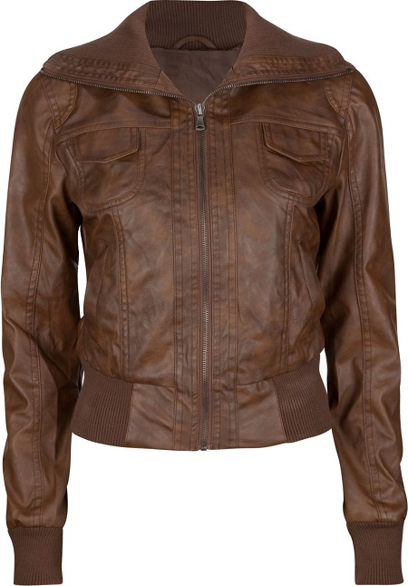 Girls Brown Leather Jacket