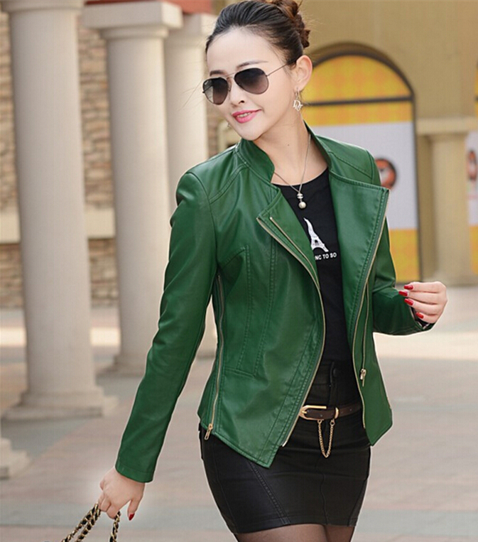 Wholesale Green Leather Jacket Women