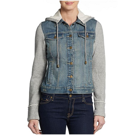 This Is A Jean Material Jacket. It Also Has A Blue Cotten Material With It As Well, Has A Blue Hood On The Back. Its Comfortable It Just Sits In My Closet.