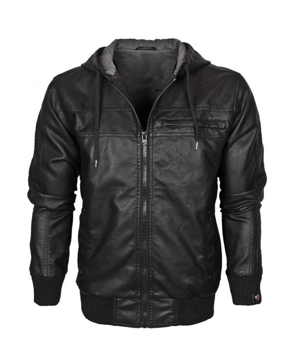 Hooded Leather Bomber Jacket Men