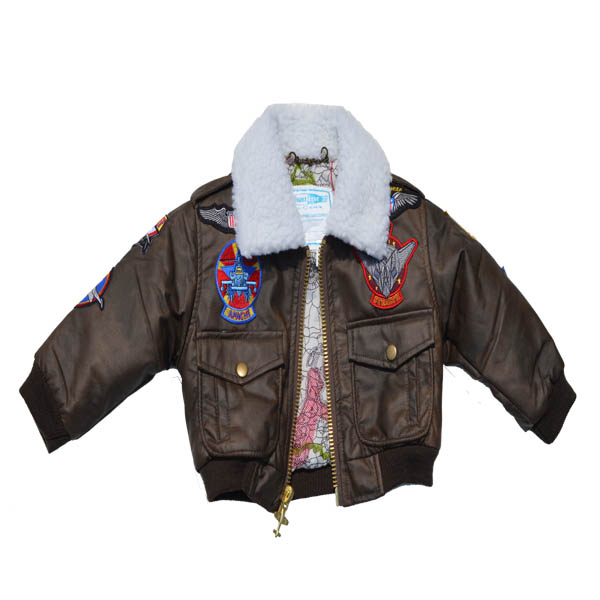 Baby black bomber jacket new without tags, 6 months size, skull and crossbones on back, skull patch on left sleeve, skull zipper pull. Faux fur around neck. Embroidered stitching on back, arms, back.
