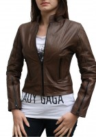 Ladies Brown Leather Jacket
