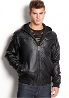 Leather Bomber Jacket with Hood