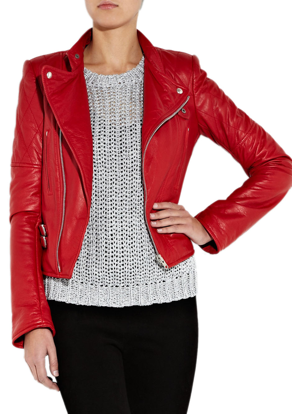 Red leather jacket woman