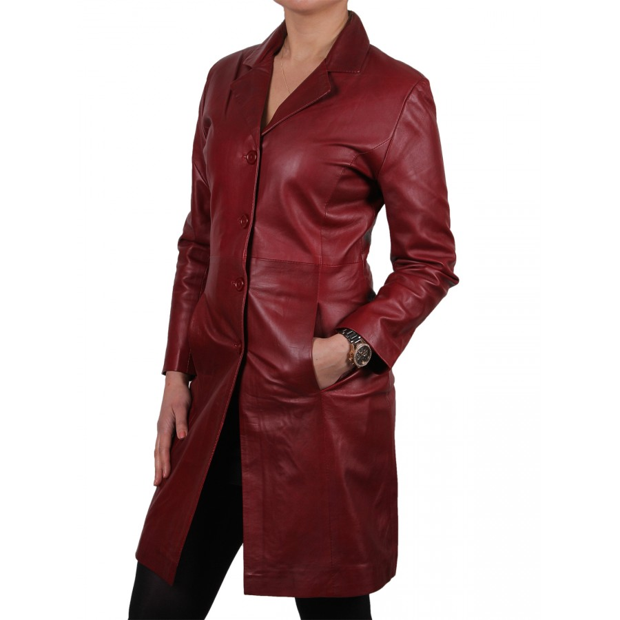 ladies red leather jacket - photo #46