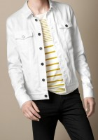 Men White Denim Jacket