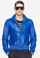 Mens Blue Leather Jacket