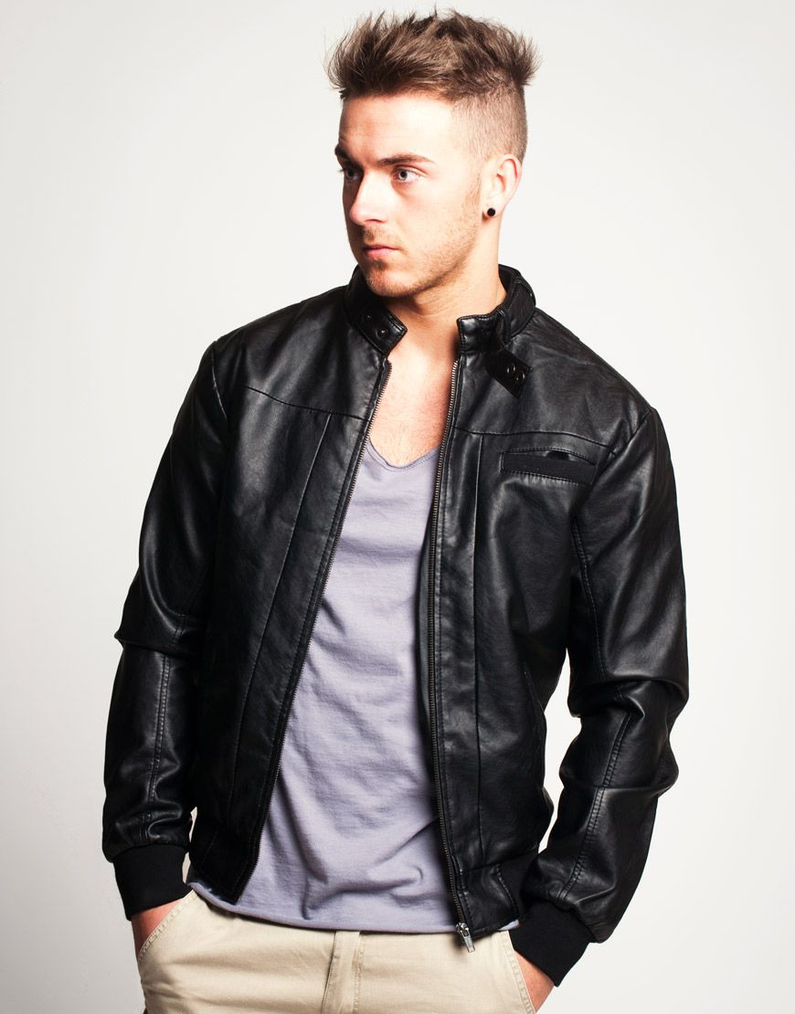 Black Leather Jacket Mens Bomber | Jackets Review