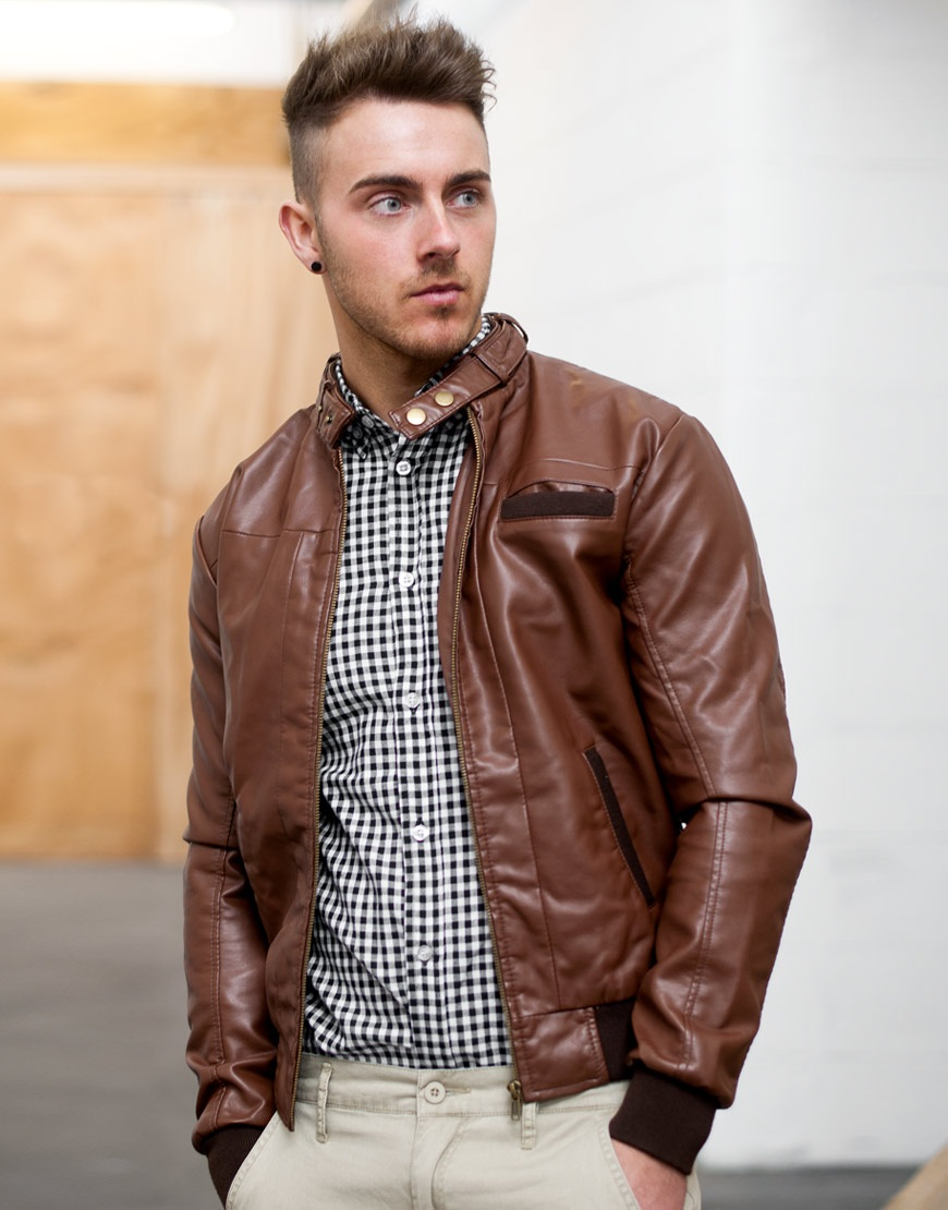 A leather aviator jacket is a sheepskin-lined leather coat that is sewn with special polymer thread and designed for extreme durability and to protect its wearer from .