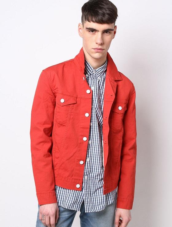 Red Denim Jackets Jackets